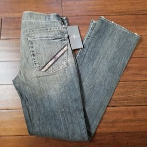 7FAM Straight Leg Purple Rhinestone Gray Jeans 28